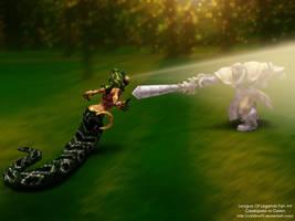 League Of Legends Cassiopeia vs Garen Fan Art by V3N0MX92