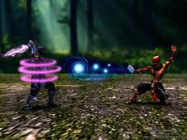 League Of Legends Fan Art - Shen vs Lee Sin by V3N0MX92