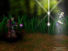 League of Legends Fan Art - Morgana vs Lux by V3N0MX92