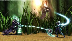 League of Legends Fan Art - Thresh Rengar Diana by V3N0MX92