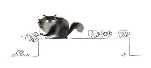 Inktober cat - #9 Broken by Anna-Talai