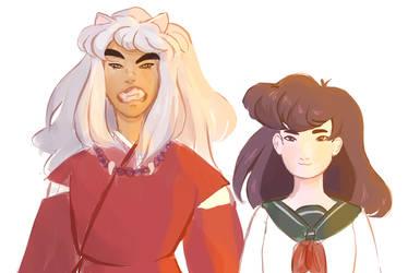 inuyasha and kagome by h0nks