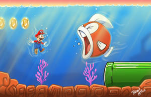 Mario is swimming' with the fishes by Hesstoons