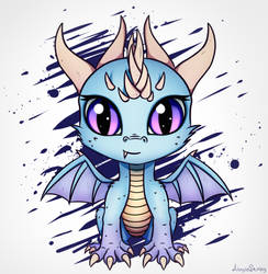 [Commission] Chibi ice dragon by AdagioString