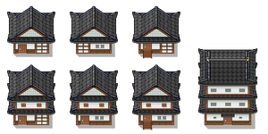 Traditional Japanese Buildings Tiles by PeekyChew