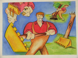 The Giant builds a Shovel by Coyle1982