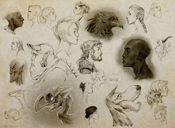 A bunch of profile sketches by ViridRain