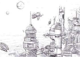 Far away colony by Khelian-Elfinde