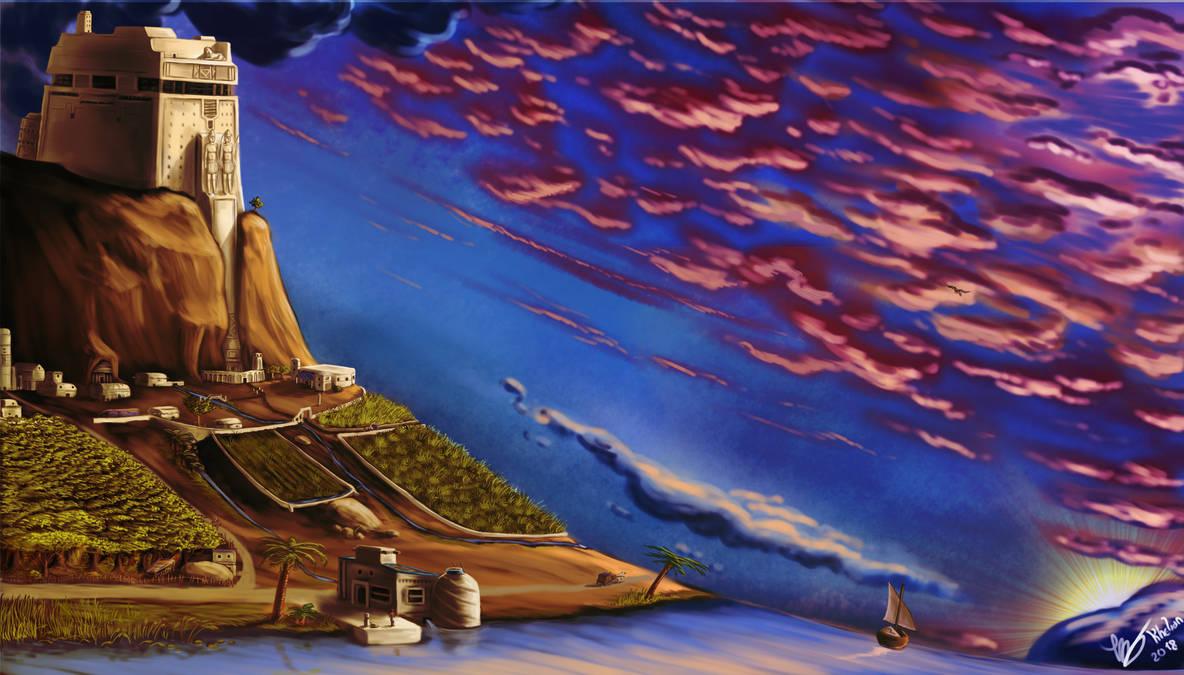 Sunset on the citadel by Khelian-Elfinde