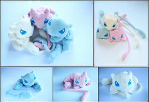 Mew Brothers - Pokemon Handmade Plushies by Lavim