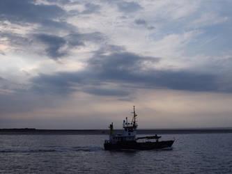 Buoy tender on the north sea by bormolino