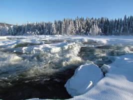 Waterfall in Storforsen nature reserve - Sweden by bormolino