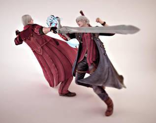 Devil May Cry : Dante Vs Nero by TiagoTavares