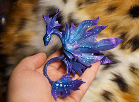 Pandorian leaf dragon  leather sculpture by kessan
