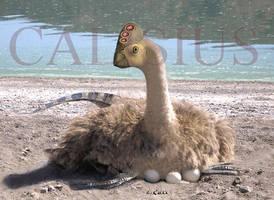nesting oviraptor by Calisius