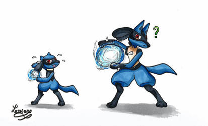 Riolu and Lucario by LessienTheElf