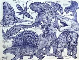 Permian Animals by MickeyRayRex