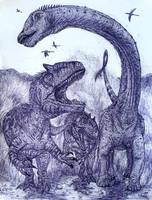 Barosaurus Chase by MickeyRayRex