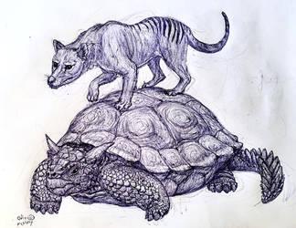 Meiolania and Thylacine by MickeyRayRex