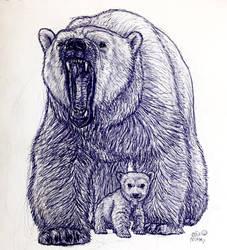 Polar Bear and Cub by MickeyRayRex