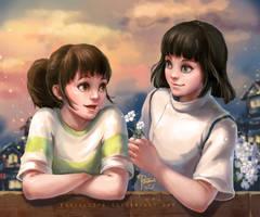 Spirited Away-Chihiro and Haku by pastellZHQ