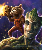 Guardians of the Galaxy_Rocket+Groot by pastellZHQ