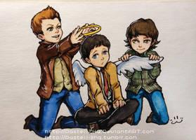 Supernatural_Dean+Sam+Cass by pastellZHQ