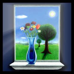 Flowers on the Windowsill by AzureKevin