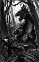 Space Marine vs Carnosaur by albe75