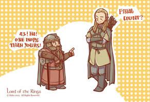 Gimli and Legolas by haleyhss