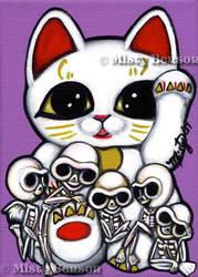 Lucky Cat Skellies by gossamerfaery