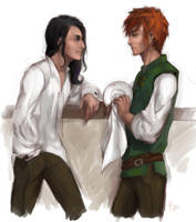 Kvothe and Bast by AlyaW