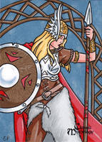 Brunhilde Sketch Card - Classic Mythology by ElainePerna