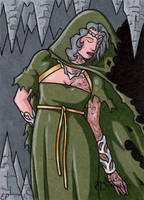 Hel Sketch Card - Classic Mythology by ElainePerna