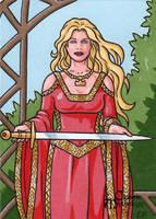 Lady Sif Sketch Card - Classic Mythology by ElainePerna