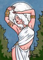 Selene Sketch Card 2 - Classic Mythology by ElainePerna