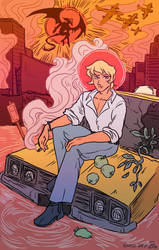 Big Yellow Taxi (Sympathy for the Devilman) by tomato-bird