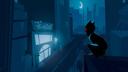 Black cat in the night #4 by ClemCyza