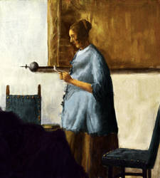 Study of Woman In Blue Dress Reading A Letter by Artofjuhani