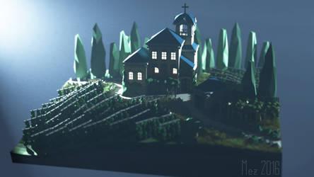 italian villa at night [Lowpoly] by Mezaka
