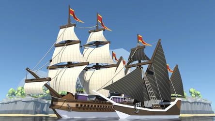 Ships [lowpoly] by Mezaka