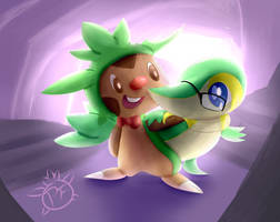 Chespin and Snivy by Fennie-Art