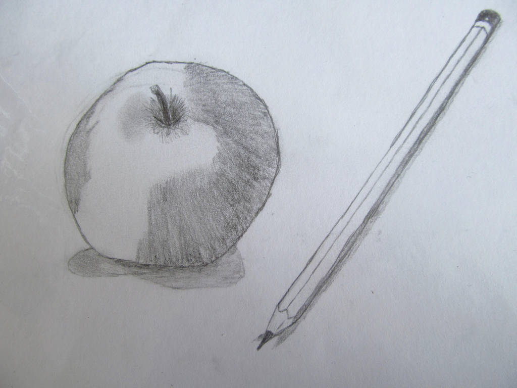 Still life drawing of an apple and a pencil by awkywolf99