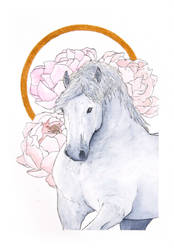 Draft horse and peonies by Citron--Vert