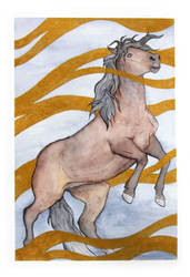 Bay horse in gold ink by Citron--Vert