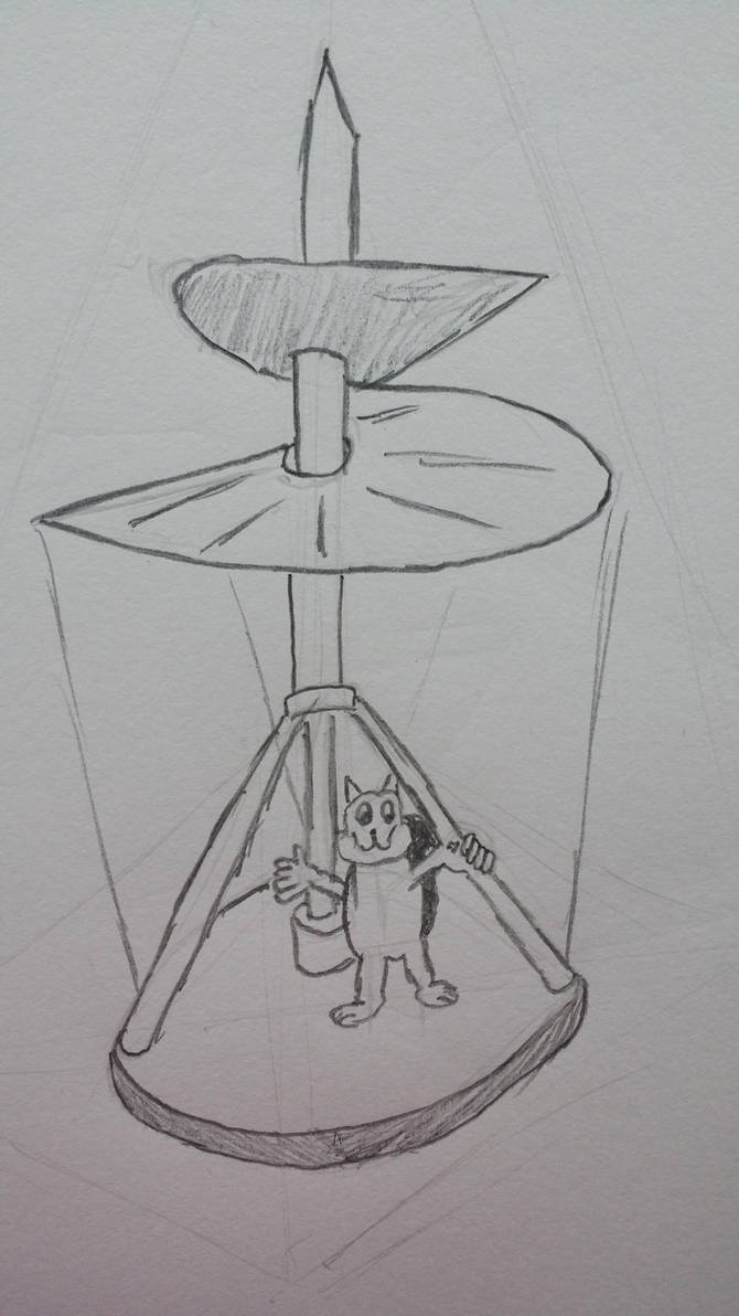 Squirrel in flying contraption by catgirl450
