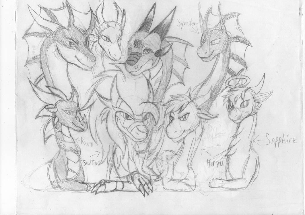 BDay Gift Sketch - Bond of Dragons by PheonixStarman
