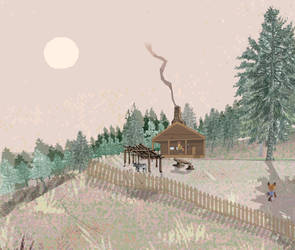 Cabin in the Woods Close Up Concept Art by Z-nab27