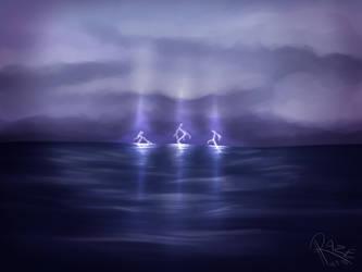 Lightning sea by Razeback