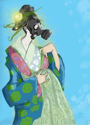 Gasmask Geisha by glittergodzilla